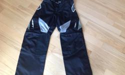 "Swift Motorcycle pants, 30"" waist, 30"" inseam Black with white and silver accent"