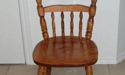 I have a table along with 4 chairs. The table comes with inserts that can make the table longer or if removed smaller. The table and the chairs are solid and old fashion design.