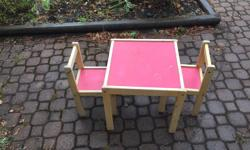 Square crafts/outdoor table with two sturdy chairs.