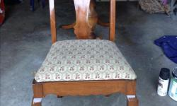 """Solid wood, vintage double pedestal table and 4 chairs. Table top measures 38x54"""". Very good condition. $250"""