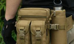 "Tactical Waist Bag with Water Bottle Holder Pouch - waist bag W5-3/4"" x D3-1/2"" x H7"", water bottle pouch W2-3/4"" x D2-3/4"" x H7"" - brand new, never used - $40 firm"