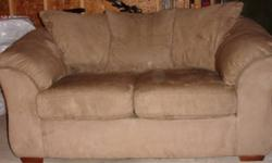 Tan Microsuede Loveseat in good condition originally paid $900+   Measurements: 68?wide x 38?deep x 32?high  175300 If interested call 250-535-1060