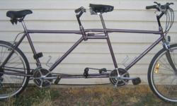Tandem with 26 inch tires This bike, like all the bikes I have for sale, has been checked, cleaned and repaired front to back including wheel straightening. You are getting a restored bicycle that should last a long time if properly cared for. A sixty day