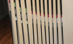 Regular flex graphite shafts. Set includes 3 wedges Sand, Pitching and Approach, Irons 8 to 5 and Driver. Three Rocketball (RBZ) fairway woods 17* 3HL wood; 19* 3 wood; 22* 4 wood. Nike double strap carry stand bag included. $2000. value.