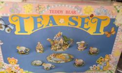 12 piece Teddy Bears Picnic Was my daughters, and she has outgrown it. Lots more tea and cakes can be served on it!