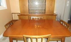 Teak dining room set with 6 chairs, table with one expandable leaf, 2 piece dining hutch.