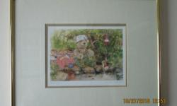"""Nice gold coloured framed Teddy Bear picture """"Gone Fishing"""" by Wendy Tosoff 14 1/2"""" wide x 11 1/2"""" high"""