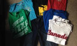 "straight leg jeans 30""x30"" barely worn, 6 adult medium t-shirts. $20 obo"