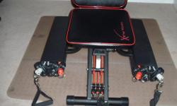 Excellent condition. Includes leg extension bar & head rest (purchased separately from machine), workout charts and DVD. Can also include an 'office chair' type mat I use underneath as it is sitting on carpet - it is not required. Folds up nicely (and