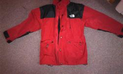 "The North Face winter jacket, large, red, gore tex, 2 in 1, with zip out ""wind stopper"" fleece. Nearly brand new, wore no more than 5 times. Steal of a deal!"