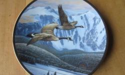 """Limited edition collector plate in Proud Passage: A Celebration of Canada's 125th Anniversary. Wildlife Habitat Canada. """"Le Retour au bercail"""" by Alan Barnard. Dominion China Ltd. $15 each or $100 for 9 plates"""
