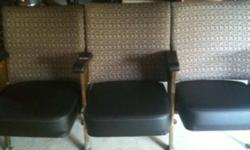 One set of three theater seats new upholstery and latex foam. Great for an entryway! Want to make your own little theater we have a total of 4 sets. All four will seat 12 people. Will reduce price if you buy them all. This ad was posted with the Kijiji