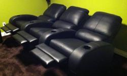 3 seat Recliner Theatre Chairs with cup holders. Purchased new 1 year ago. These connect as a single unit, but can be disconnected to 3 pieces to transport. $500 OBO. This ad was posted with the Kijiji Classifieds app.