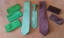 One adult Kelly Green Tie, One adult Chocolate Brown Tie and one kids or boy Kelly Green Clip on Tie. Have a few extra pockets squares in each color you can have all for $20 great for wedding, birthday, special occasion or photo event.