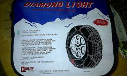 Diamond Light European Hoop Style Light weight 3.8 mm cross-chain Light-truck/SUV   Used only one season (5 times) See photo for specifications