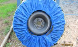 """WRAP UP YOUR DIRTY WHEELS IN THESE COVERS . STORE YOUR TIRES IN YOUR HOUSE OR APT .THEY HAVE HANDLES TO CARRY THEM AROUND EASILY. THESE COVERS ARE WELL MADE OUT OF HEAVY NYLON AND EASY TO USE . I HAVE THREE MICHELINS AND ONE INTEGRA . FOR CAR WHEELS 14"""" -"""