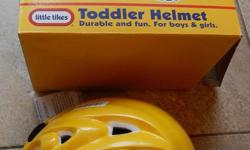Choice of 2 todder helmets. Both never used. Sold separately asking $10 each. Little Tikes Yellow helmet: very comfortable padding. Suitable for boy or girl. Box states 3+ years but inside measures 18in 46cm around the inside padding. X-Factor helmet:
