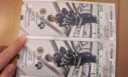 Two tickets for Leafs vs. Bruins on Wednesday November 30 at ACL. Section 311, row 11, seats 19 & 20. $300.00 for the pair. Please call 519-982-0582