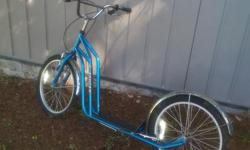"""This is a Toucan scooter. It is in perfect working order and in very good condition. See the website link for details. These scooters are suitable for teens or smaller adults. This is the 20"""" model. The deck is 8"""" off of the ground. We paid $225 new in"""