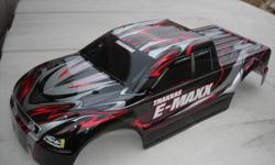 Traxxas E-maxx body brand new never used. $ 45.00 no tax . come and get it . Great deal , at hobby shop you'll probably pay over 50.00 plus tax.