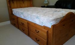 - long twin size pine bed - easy to set up - in great shape - no stains on mattress - 5 drawer pine dresser - quality bedroom set