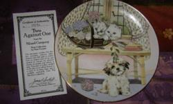 Collector Plate 'Two Against One' by Pam Cooper, Mixed Company Collection, 1989, Two Persians and a Lhasa Apso, Hamilton Collection, paperwork and original box