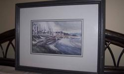 """Two framed """"art cards"""" depicting First Nations scenes from Haida Gwaii.  Dimensions are 15 1/2"""" x 12 1/2"""".  Painted in water colours and professionally matted and framed by Bastion Galleries.  Frames have very slight imperfections due to packing/moving."""