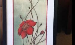 """Two framed art prints, under glass. $35.00 for flowers, $20.00 for design print. Both are 31""""high x 18""""wide."""