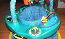 This Ultra 2-in-1 Exersaucer is an activity centre with an infant playmat, so that your child can use it for a longer time period. The seat spins and a 3 position height adjustment grows with child. It folds down for storage and has a carrying handle for