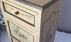"""Cute little hand painted table with drawer and cabinet door. Height=27"""" length=13.5"""" Width=10"""""""