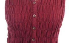 """United Colors of Benetton - Burgundy Red Button-Up Knit Vest - knit, 60% wool, 40% acrylic - size XS - chest 33-42"""", length 18"""" - like new, in excellent condition - $25 firm"""