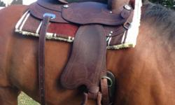 German soft dark brown leather, with black suede seat. Adjustable width gullet fits practically any horse. Used, nicely broken in. Lots of life left. Used it about a year. Always stored indoors.