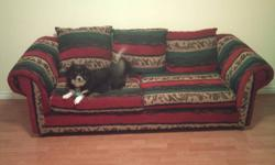 Giving away a used sofa. Needs cleaning - has some squeaking, however it is very comfortable and can be used to sleep on. Jas 6 Cushions (minimum tearing) - has been used with a sofa cover and looked fine. Must be picked up.