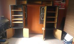 used wall unit black and wood good condition