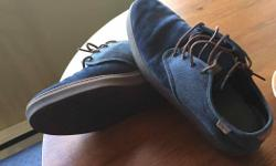 Size 11.5 navy blue with brown sole Vans OTW collection low tops. Dark blue leather upper with brown rubber sole. Come in the box (Vans box but for a different style). These are used but in near perfect condition (have only been worn a handful of times).