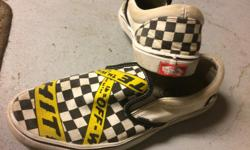 """Decent pair of rare special order Vans """"off the wall"""" shoes. Good condition. From a clean, non-smoking, no pets home."""