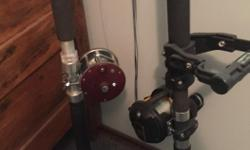 Daiwa Sealine SLD20 lever drag deep sea reel (loaded with 80lb braid) and Shakespeare Tidewater 6' heavy action rod with Scotty grip handle.. Both in great shape: $285 Rod/reel on the left is sold. Temple forks 9' downrigger/mooching rod. Top quality