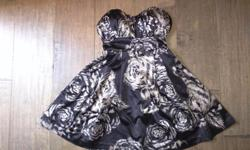 """1. """"Guess"""" brand black with gold flowers strapless dress paid $120 asking for $60. size 3. 2. """"JustFab"""" brand black and gold dress. size small, asking $30 3. Black with pink ribbon and flower dress size small asking $30 4. Black sparkly dress size medium"""