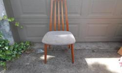 Here is a sweet Danish teak chair for sale. Solid teak, has a couple of minor scuffs but has a beautiful warm color to it. The seat needs recovering as it is worn and a bit musty smelling. Excellent addition to any household!!!!
