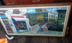 VERY NICE LARGE OIL PAINTING 29''H X 53'' L,ORIGINAL FRAMED. $85 OBO