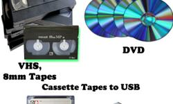 Hi I'm offering offering a way to keep your VHS 8 MM video tapes alive by re recording them on to DVD I only Charge $15 per DVD on tape conversion you get DVD + cover + blank label So if you want to keep those holiday parties & events. Birthday's,