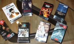 VHS tape Titles Phantom of the Opera - Video Quartet Titantic - 2 tapes Pearl Harbour - 2 tapes Before and After Outbreak Independence Day Perfect Storm High Crimes All of Me Wild America Spectacular Showdowns The Predators Forest Gump Eyes of an Angel No