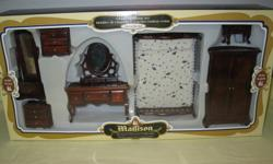 """Victorian miniature furniture, 7pc. bedroom set. Solid wood,movable doors and draws, very well made. Bed 6"""" long. Still in box."""