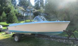 Vintage 1950's Rinell Sport craft boat, with 1963 35 h.p Viking motor , robins egg blue , fins with a classic hot rod style , trailer complete ready to go. $1800.00 obo
