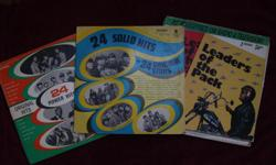 Three album Rock & Roll set with 5 records in total. 24 power hits with the original artists 33 1/3, Syndicate Recording Performing Crimson & Clover, Abraham Martin & John, Baby Let's Wait, Chewy Chewy, Elenor and many more Jacket in good condition Record