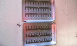 VINTAGE BEST MADE ALUMINUM FLY BOX. This fly box holds 66 flies. Made in Japan. 4 x 2.75 in. or 10 x 7 cm. In very good condition.