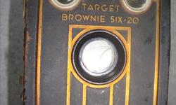 """TARGET BROWNIE six-20 Box style camera measures approx 5"""" x 3"""" x 4"""" Strap on the top is worn. AND Vintage Herco Imperial 620 Snap Shot Camera AND Brownie Flash 20 Camera"""