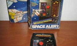 """MATTEL : Space Alert - Battlestar Galactica ( 1978 ) - in box Battlestar Galactica Space Alert is a handheld electronic game released in 1978. It was originally released as """"Missile Attack"""" in 1976. Own a piece of handheld gaming history for only $25! or"""