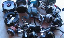 """VINTAGE FRESH & SALT WATER FISHING REELS. (146 0801) From $10.00 to $30.00 each. All reels are in good to very good condition Its a house number so texting will not work. """"""""DO NOT"""""""" CALL BEFORE 8 am. OR AFTER 9:00 pm. CASH ONLY. PICKUP ONLY VIEW MAP for"""