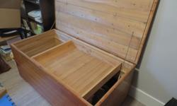 NEW PRICE. Vintage hope chest, cedar, handcrafted circa 1940 in New Brunswick, 23 1/2 inches depth, 19 inches high, 44 1/2 inches long, movable tray inside, very unique